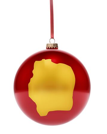 gold coast: A hanging glossy red bauble with the golden shape of Ivory Coast.(series)