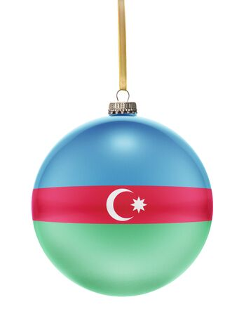 national colors: A glossy christmas ball in the national colors of Azerbaijan hanging on a golden string isolated on a white background.(series)