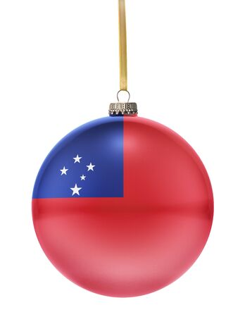 hanging string: A glossy christmas ball in the national colors of Samoa hanging on a golden string isolated on a white background.(series)