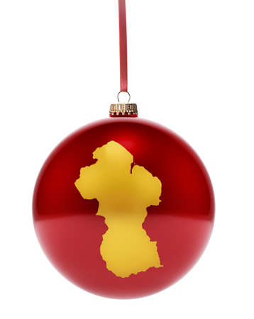 guyanese: A hanging glossy red bauble with the golden shape of Guyana.(series)