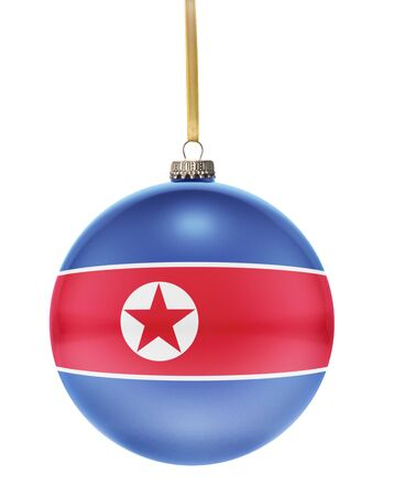 hanging string: A glossy christmas ball in the national colors of North Korea hanging on a golden string isolated on a white background.(series)