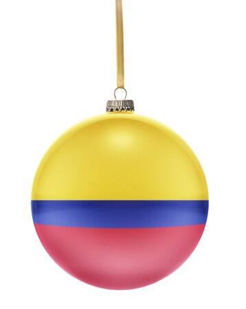 national colors: A glossy christmas ball in the national colors of Colombia hanging on a golden string isolated on a white background.(series)