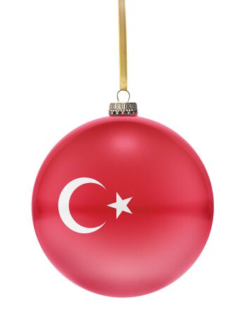 hanging string: A glossy christmas ball in the national colors of Turkey hanging on a golden string isolated on a white background.(series)