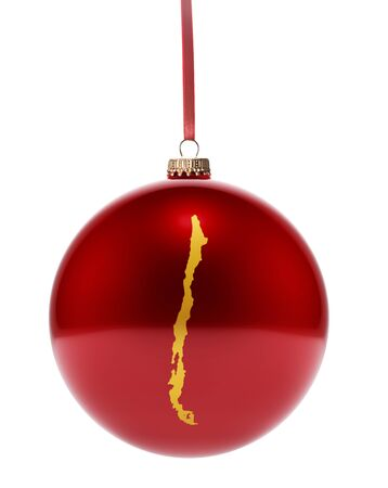 national colors: A hanging glossy red bauble with the golden shape of Chile.(series) Stock Photo