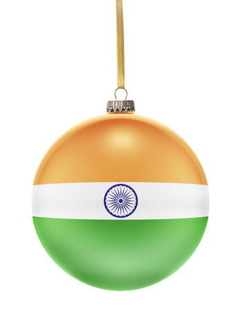 national colors: A glossy christmas ball in the national colors of India hanging on a golden string isolated on a white background.(series)