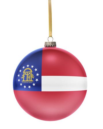 hanging string: A glossy christmas ball in the national colors of Georgia hanging on a golden string isolated on a white background.(series)