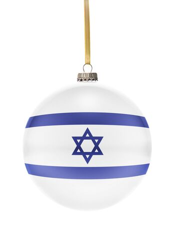 national colors: A glossy christmas ball in the national colors of Israel hanging on a golden string isolated on a white background.(series)