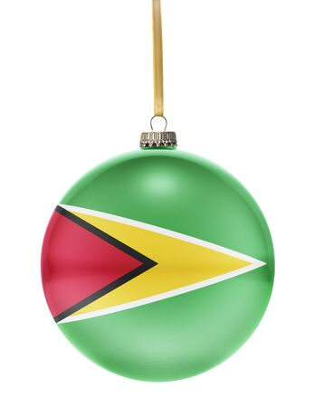 guyanese: A glossy christmas ball in the national colors of Guyana hanging on a golden string isolated on a white background.(series)