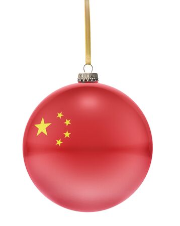 baubles: A glossy christmas ball in the national colors of China hanging on a golden string isolated on a white background.(series) Stock Photo