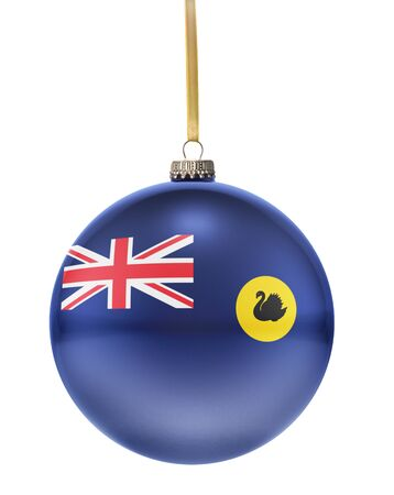 western: A glossy christmas ball in the national colors of Western Australia hanging on a golden string isolated on a white background.(series)