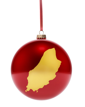national colors: A hanging glossy red bauble with the golden shape of Isle of Man.(series)