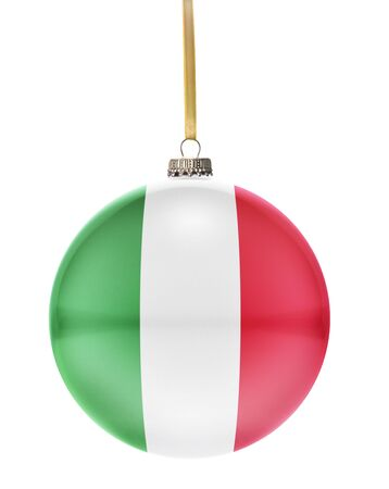 hanging string: A glossy christmas ball in the national colors of Italy hanging on a golden string isolated on a white background.(series)