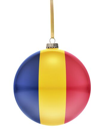 chadian: A glossy christmas ball in the national colors of Chad hanging on a golden string isolated on a white background.(series)