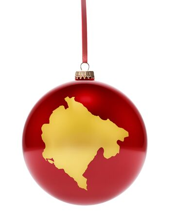 national colors: A hanging glossy red bauble with the golden shape of Montenegro.(series)