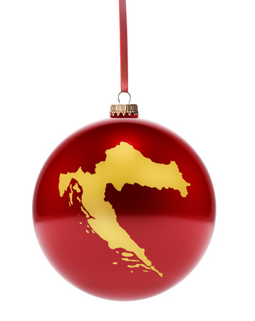 A hanging glossy red bauble with the golden shape of Croatia.(series)