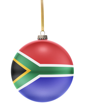 A glossy christmas ball in the national colors of South Africa hanging on a golden string isolated on a white background.(series)