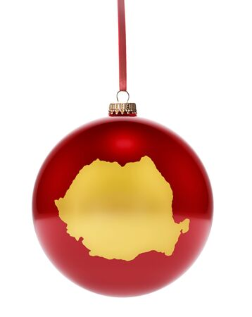 national colors: A hanging glossy red bauble with the golden shape of Romania.(series)