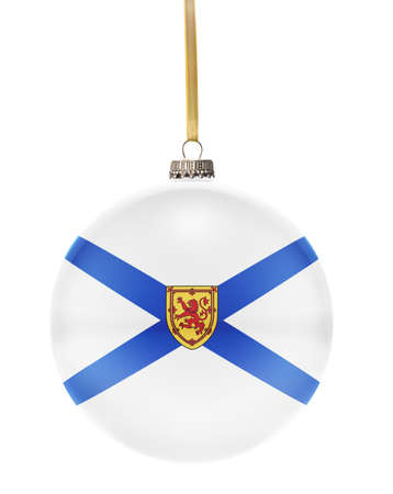 nova: A glossy christmas ball in the national colors of Nova Scotia hanging on a golden string isolated on a white background.(series)