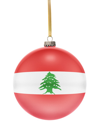 hanging string: A glossy christmas ball in the national colors of Lebanon hanging on a golden string isolated on a white background.(series)