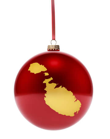 maltese map: A hanging glossy red bauble with the golden shape of Malta.(series) Stock Photo
