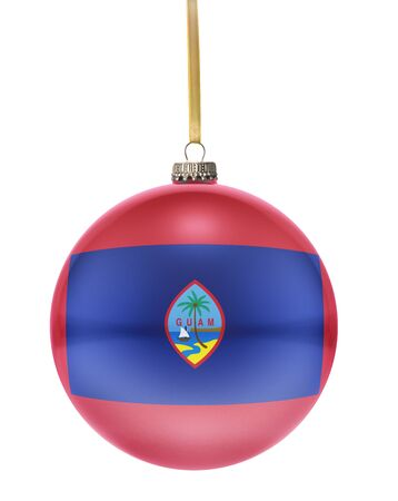 guam: A glossy christmas ball in the national colors of Guam hanging on a golden string isolated on a white background.(series)