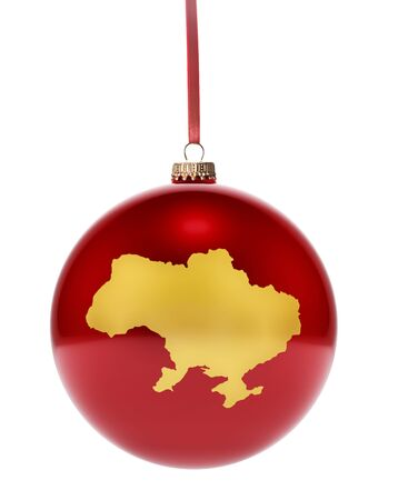 dull: A hanging glossy red bauble with the golden shape of Ukraine.(series) Stock Photo