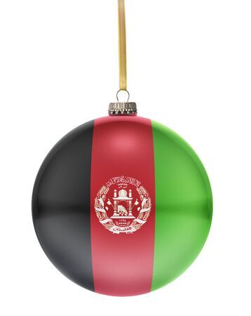 dull: A glossy christmas ball in the national colors of Afghanistan hanging on a golden string isolated on a white background.(series) Stock Photo