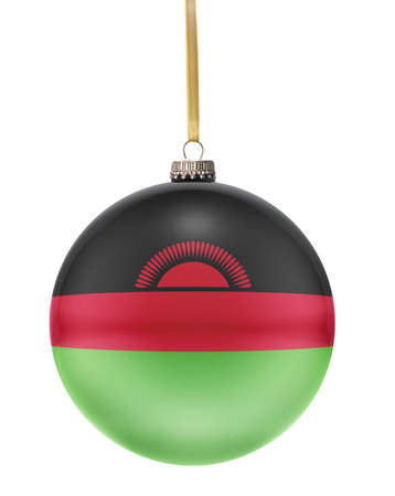 malawian flag: A glossy christmas ball in the national colors of Malawi hanging on a golden string isolated on a white background.(series)