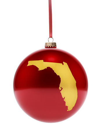 floridian: A hanging glossy red bauble with the golden shape of Florida.(series)