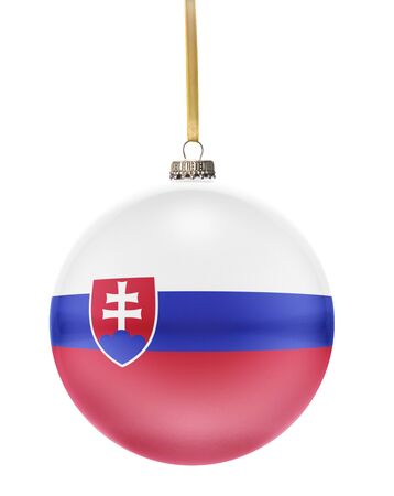 national colors: A glossy christmas ball in the national colors of Slovakia hanging on a golden string isolated on a white background.(series)