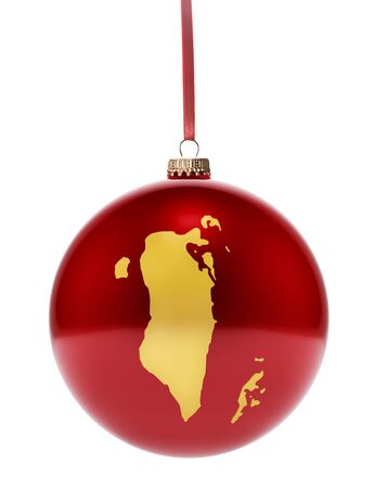 dull: A hanging glossy red bauble with the golden shape of Bahrain.(series) Stock Photo
