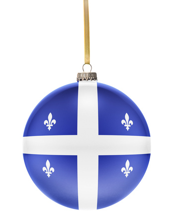 quebec: A glossy christmas ball in the national colors of Quebec hanging on a golden string isolated on a white background.(series)