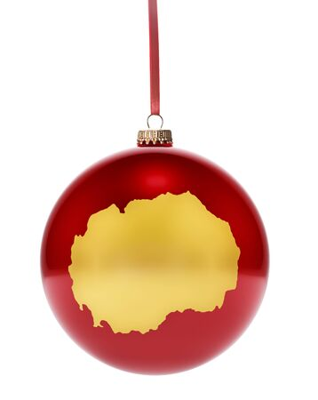 dull: A hanging glossy red bauble with the golden shape of Macedonia.(series)