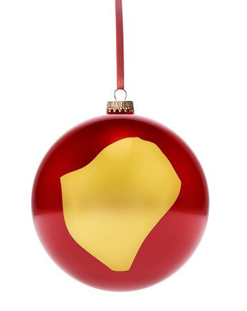 dull: A hanging glossy red bauble with the golden shape of Burundi.(series) Stock Photo