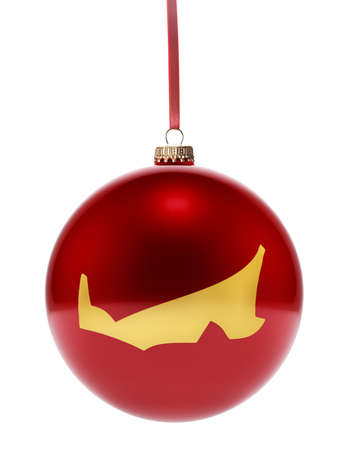 edward: A hanging glossy red bauble with the golden shape of Prince Edward Island.(series)