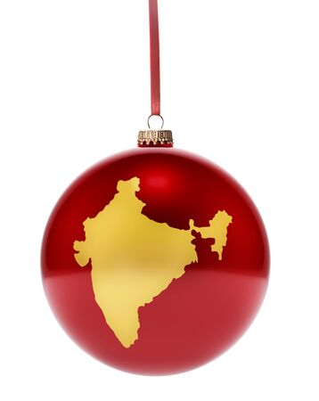 A hanging glossy red bauble with the golden shape of India.(series)