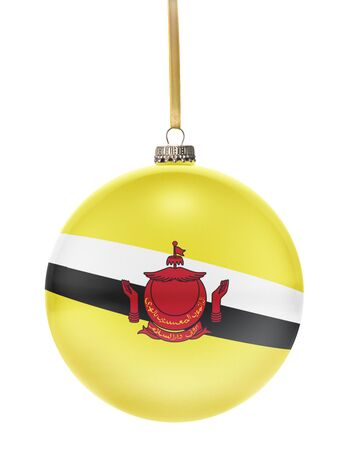 dull: A glossy christmas ball in the national colors of Brunei hanging on a golden string isolated on a white background.(series)