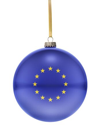 national colors: A glossy christmas ball in the national colors of Europe hanging on a golden string isolated on a white background.(series)