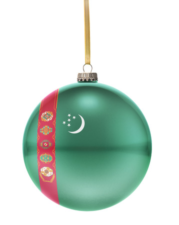 turkmenistan: A glossy christmas ball in the national colors of Turkmenistan hanging on a golden string isolated on a white background.(series)