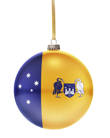 dull: A glossy christmas ball in the national colors of Australian Capital Territory hanging on a golden string isolated on a white background.(series)