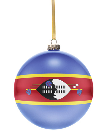 dull: A glossy christmas ball in the national colors of Swaziland hanging on a golden string isolated on a white background.(series)