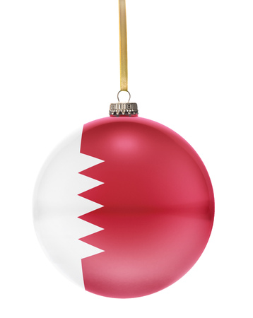 hanging string: A glossy christmas ball in the national colors of Bahrain hanging on a golden string isolated on a white background.(series)