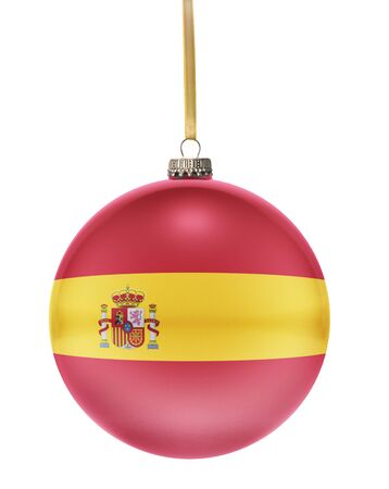 spain: A glossy christmas ball in the national colors of Spain hanging on a golden string isolated on a white background.(series)