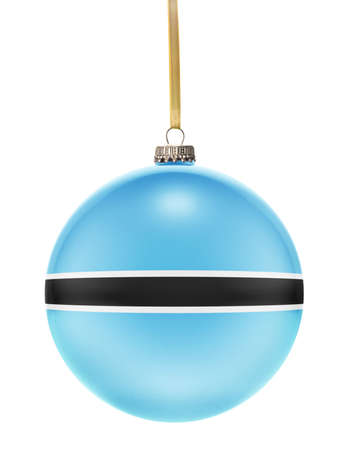 botswanan: A glossy christmas ball in the national colors of Botswana hanging on a golden string isolated on a white background.(series)