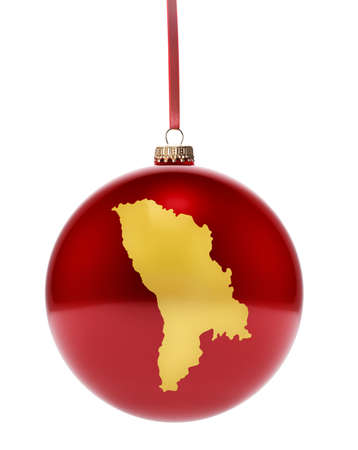 national colors: A hanging glossy red bauble with the golden shape of Moldava.(series)