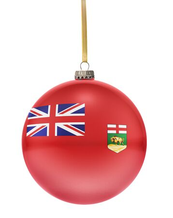 manitoba: A glossy christmas ball in the national colors of Manitoba hanging on a golden string isolated on a white background.(series)