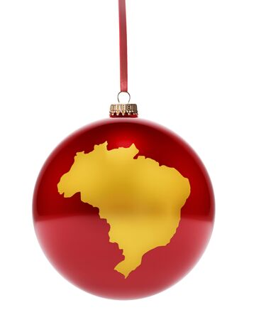 ornament: A hanging glossy red bauble with the golden shape of Brazil.(series) Stock Photo