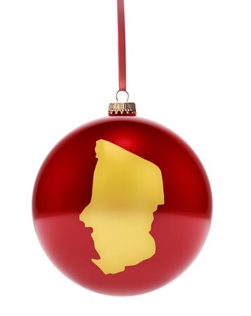 chadian: A hanging glossy red bauble with the golden shape of Chad.(series) Stock Photo