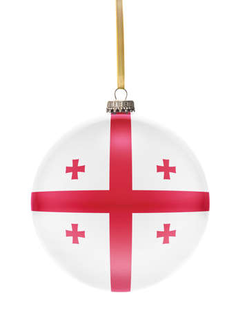 national colors: A glossy christmas ball in the national colors of Georgia hanging on a golden string isolated on a white background.(series)