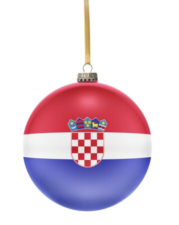 national colors: A glossy christmas ball in the national colors of Croatia hanging on a golden string isolated on a white background.(series)